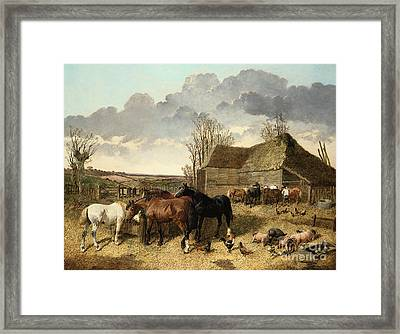 Horses Eating From A Manger, With Pigs And Chickens In A Farmyard Framed Print by John Frederick Herring Jr