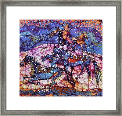 Horses Gallop In Snowfields Framed Print