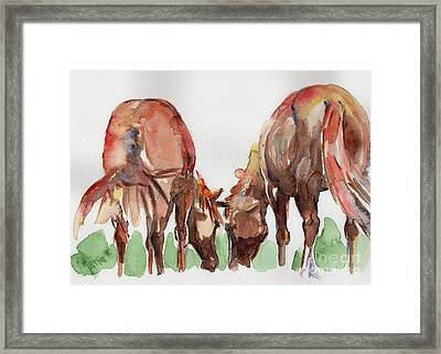 Horses Grazing Framed Print by Maria's Watercolor