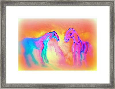 Small Girls Dream About Horses In Different Shapes And Colors  Framed Print