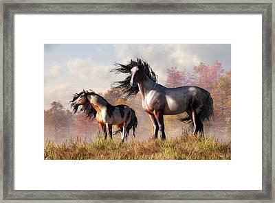Horses In Fall Framed Print by Daniel Eskridge