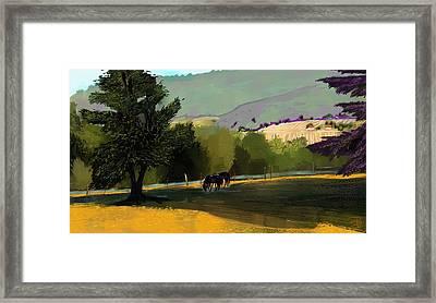 Horses In Field Framed Print