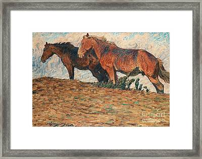 Horses In Stifling Winds Framed Print by Celestial Images