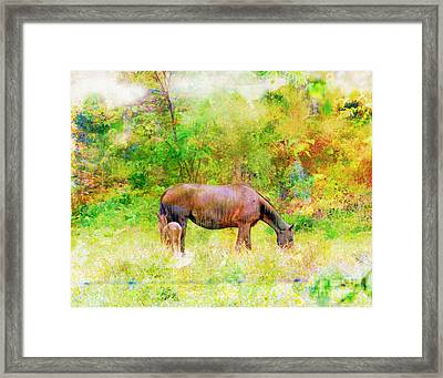 Horses In The Rain - Watercolor Style Framed Print