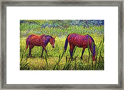 Horses In Tranquil Field Framed Print