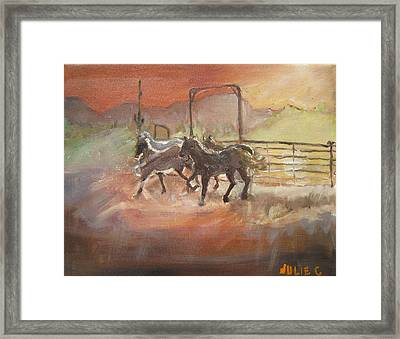 Framed Print featuring the painting Horses by Julie Todd-Cundiff