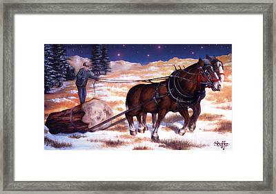 Horses Pulling Log Framed Print by Curtiss Shaffer