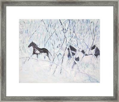 Horses Running In Ice And Snow Framed Print