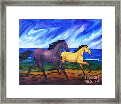 Horses Running On The Beach Framed Print