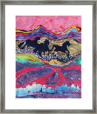 Horses Running Thru A Stream Framed Print