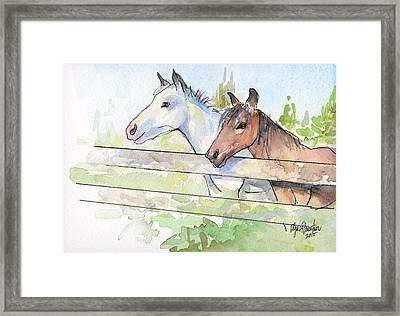Horses Watercolor Sketch Framed Print