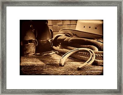 Horseshoe And Cowboy Gear Framed Print