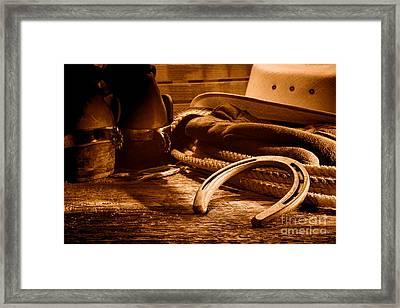 Horseshoe And Cowboy Gear - Sepia Framed Print