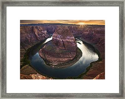 Horseshoe Bend Arizona Sunset Framed Print by Dave Dilli