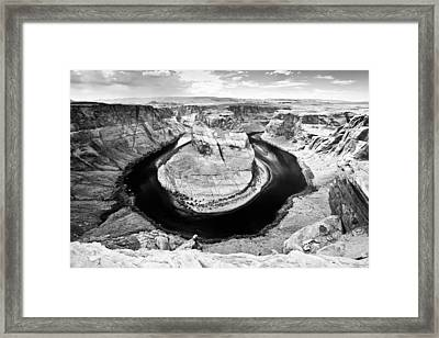 Horseshoe Bend In Page Arizona Black And White Framed Print by Ryan Kelly