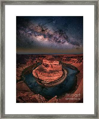 Horseshoe Bend With Milkyway Framed Print