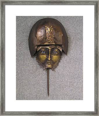 Horseshoe Crab Mask Art Framed Print by Roger Swezey