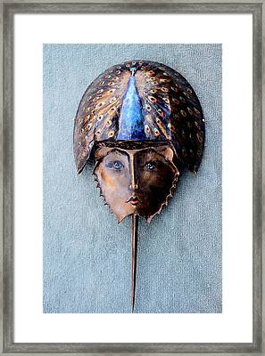 Horseshoe Crab Mask Peacock Helmet Framed Print