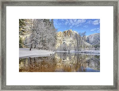 Horsetail Fall Reflections Winter Yosemite National Park Framed Print