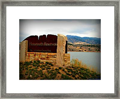 Horsetooth Peak Above The Reservoir Framed Print