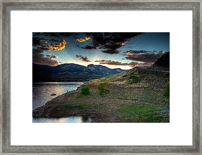 Horsetooth Reservior At Sunset Framed Print by James O Thompson