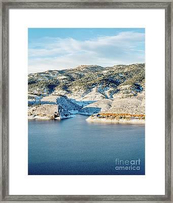 Horsetooth Reservoir And Rock Framed Print by Marek Uliasz