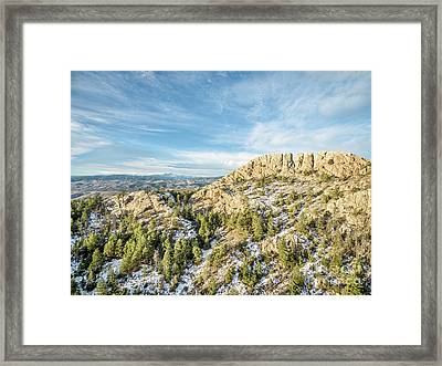 Horsetooth Rock In Winter Framed Print by Marek Uliasz