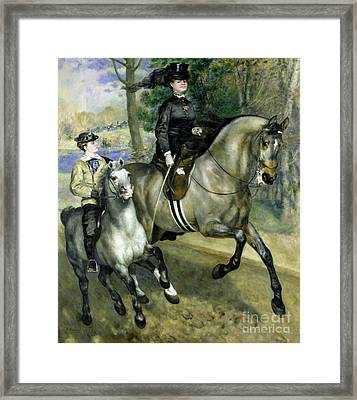 Horsewoman In The Bois De Boulogne Framed Print by Pierre Auguste Renoir