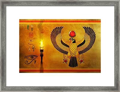 Horus Falcon God Framed Print by John Wills