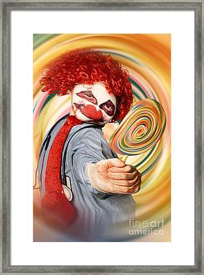 Hospital Clown Offering Psychedelic Lolly Hypnosis Framed Print