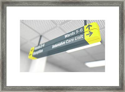 Hospital Directional Sign Intensive Care Unit Framed Print