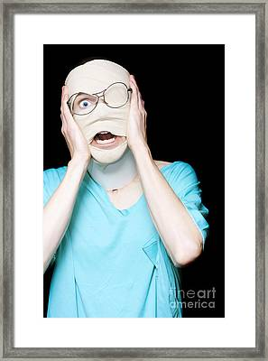 Hospital Trauma Patient Screaming In Terror Framed Print