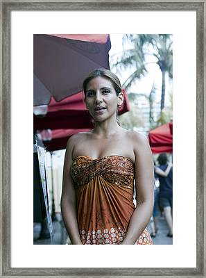 Hostess At South Beach Restaurant  Framed Print by Christopher Purcell