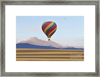 Hot Air Balloon And Longs Peak Framed Print by James BO  Insogna
