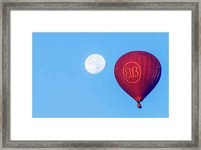 Framed Print featuring the photograph Hot Air Balloon And Moon by Pradeep Raja Prints