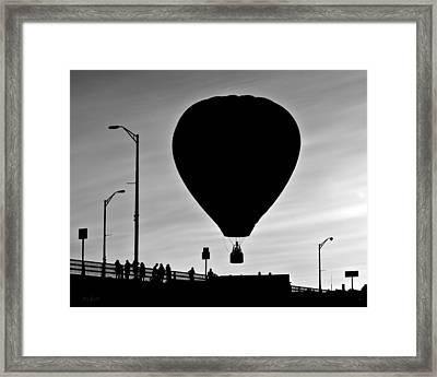 Hot Air Balloon Bridge Crossing Framed Print by Bob Orsillo