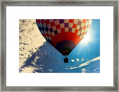 Hot Air Balloon Eclipsing The Sun Framed Print by Bob Orsillo