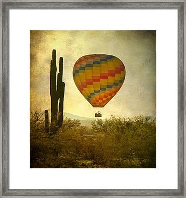 Hot Air Balloon Flight Over The Southwest Desert Framed Print by James BO  Insogna