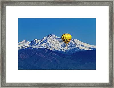 Hot Air Balloon Over Mountains Framed Print by Teri Virbickis