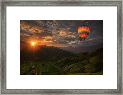 Hot Air Balloon Over Rice Fields On Terraced  Framed Print