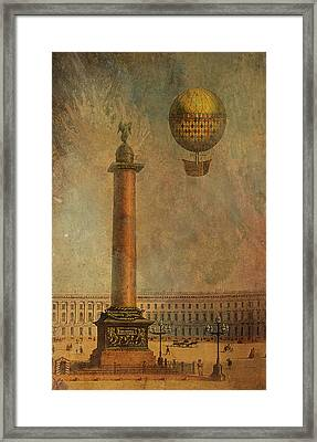 Framed Print featuring the digital art Hot Air Balloon Over St Petersburg And The Hermitage by Jeff Burgess