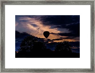 Hot Air Balloon Silhouette At Dusk Framed Print