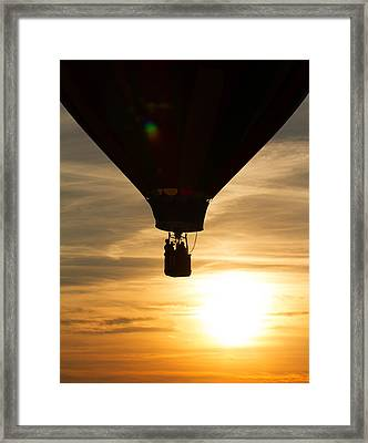 Hot Air Balloon Sunset Silhouette Framed Print