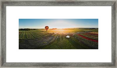 Framed Print featuring the photograph Hot Air Balloon Taking Off At Sunrise by William Lee