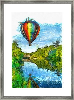 Hot Air Balloon Woodstock Vermont Pencil Framed Print by Edward Fielding