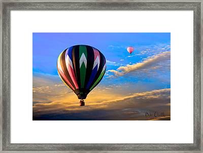 Hot Air Balloons At Sunset Framed Print by Bob Orsillo