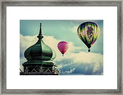 Hot Air Balloons Float Over Lewiston Maine Framed Print by Bob Orsillo