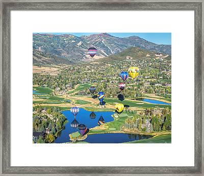 Hot Air Balloons Over Park City Framed Print