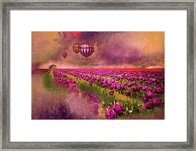 Hot Air Balloons Over Tulip Fields Framed Print by Jeff Burgess
