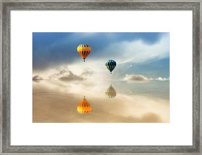 Hot Air Balloons Water Reflections Framed Print by Tracie Kaska